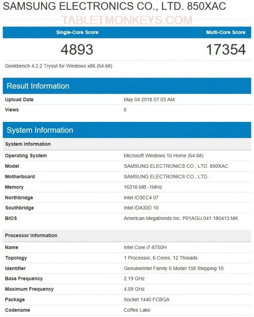 Samsung Notebook Odyssey Z Benchmark Score