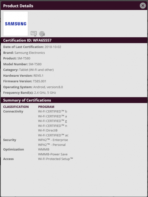All Of Samsung Galaxy Tab A 10 1 (2016) SM-T580 Series Certified