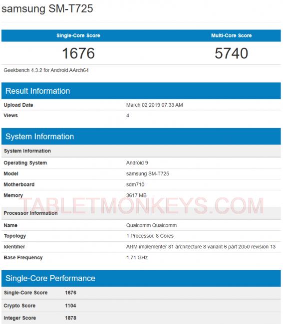 Samsung Galaxy Tab S5e Benchmark Scores