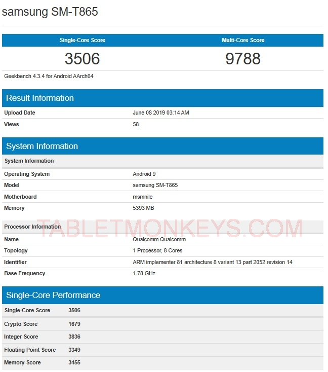 6GB RAM Samsung Galaxy Tab S5 (SM-T865) Benchmarks Score