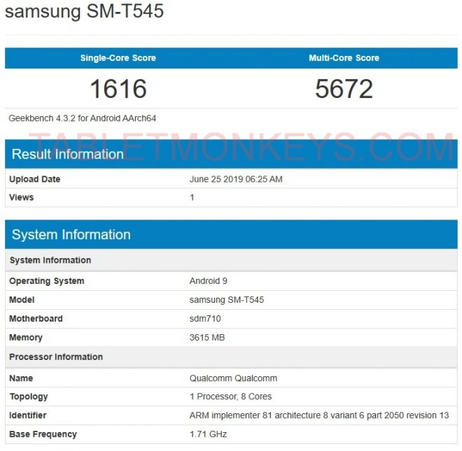 Samsung SM-T545 Benchmarks Scores