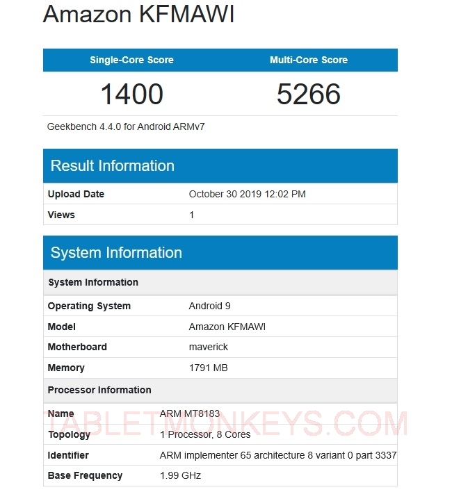 New Fire HD 10 Benchmark Scores