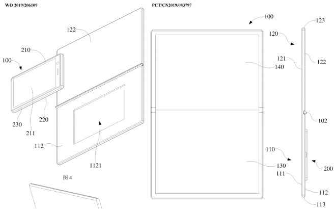 Patent for foldable Oppo tablet with smartphone docked into the back