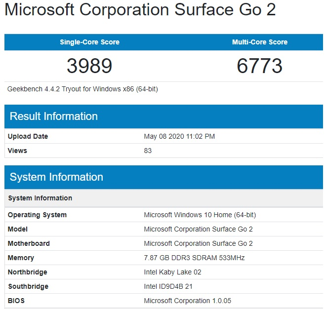 Microsoft Surface Go 2 Benchmarks