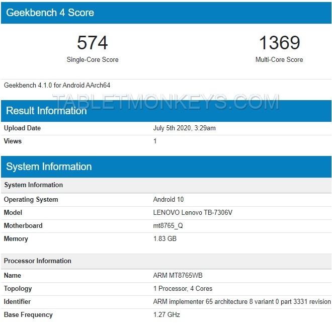 7 Inch Android 10 Lenovo Tablet TB-7306V