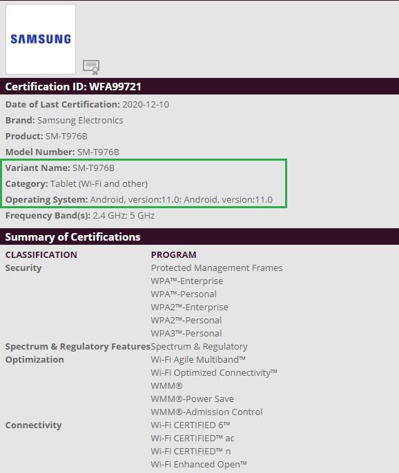 Android 11 Samsung Galaxy Tab S7+