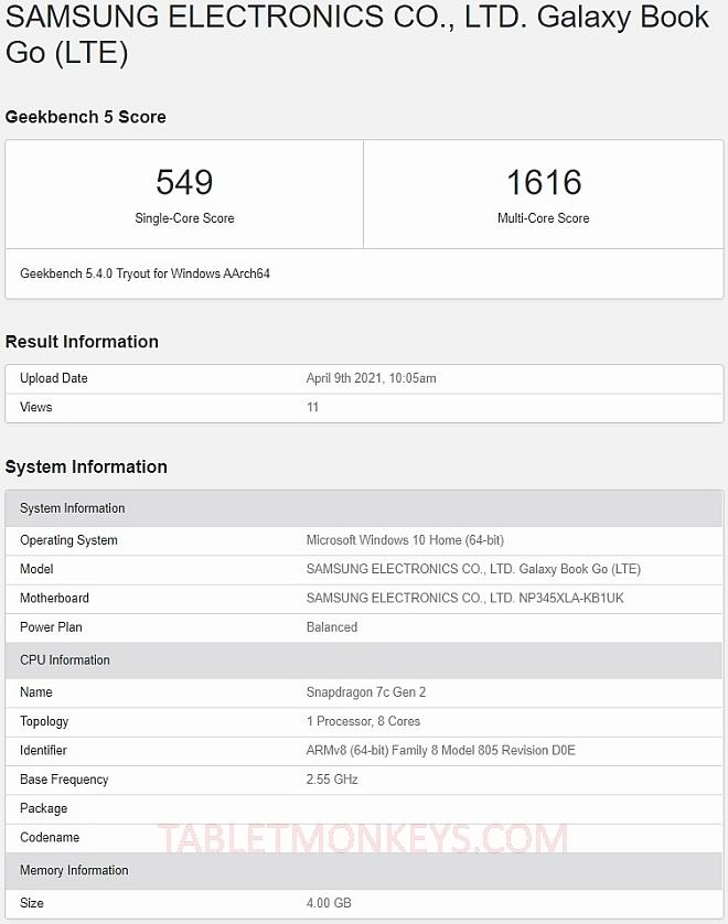 Samsung Galaxy Book Go Benchmark Scores