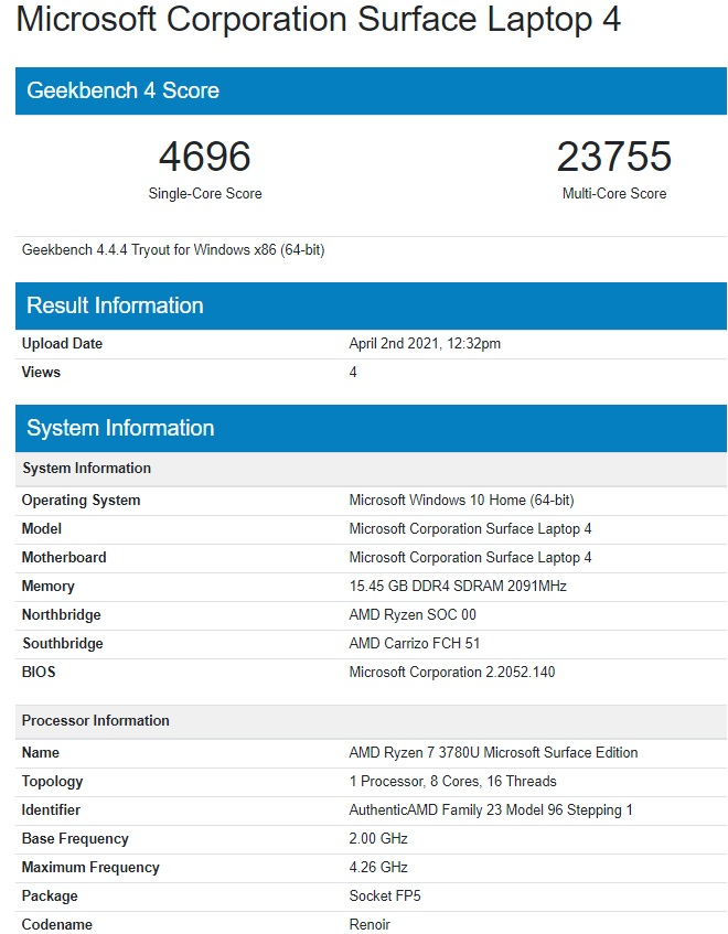 Surface Laptop 4 Benchmark Score